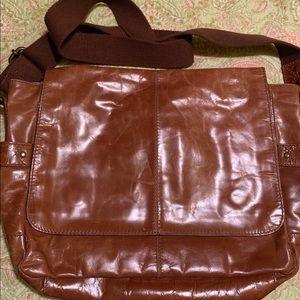 Fossil Leather Cognac Messenger Bag